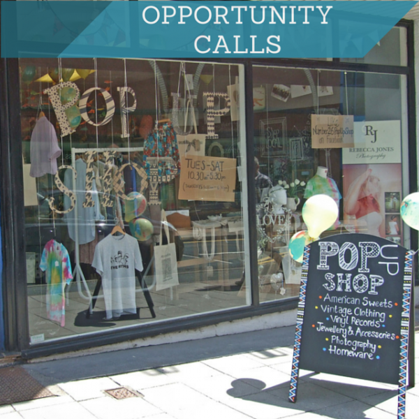 Pop-up shop that says Opportunity Calls