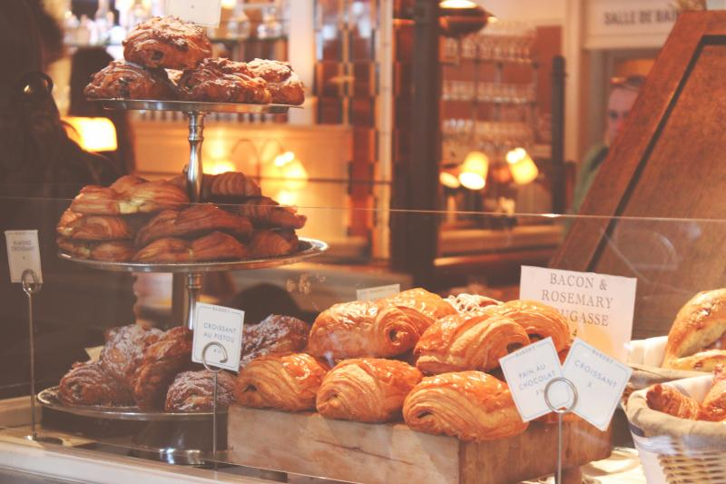 Baked goods on display for sale in a bakery